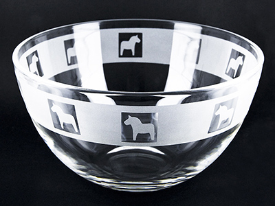Bowl engraved with Dala horses