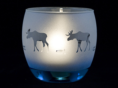 Votive Moose hiking in the Arctic Night