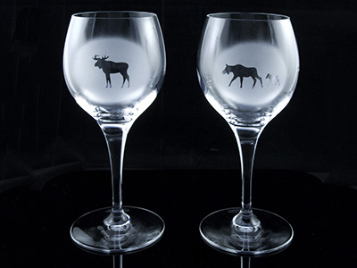 Wine glasses Animals of Lapland